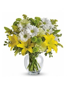 Glass Vase of Mix Flowers