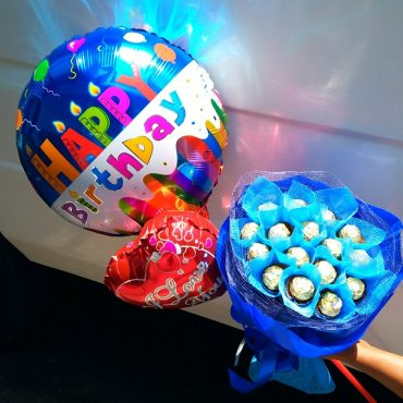 Ferrero bouquet, chocolate bouquet, happy birthday balloon