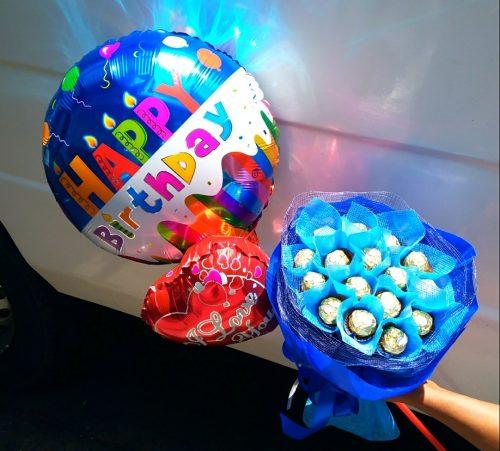 Ferrero bouquet, chocolate bouquet, happy birthday balloon